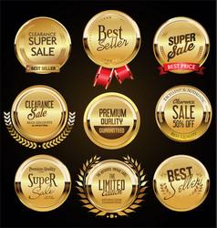 retro vintage golden badges labels and shields vector image
