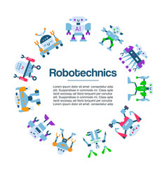 robot toys icons poster robotic machine vector image