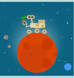 Rover on mars in cartoon style vector