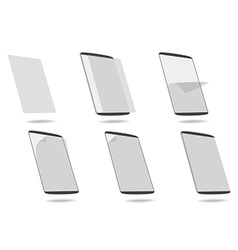 Set apply screen protector tablet computer vector