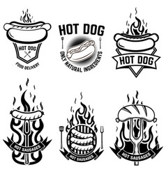 set emblems with hot dog design element vector image