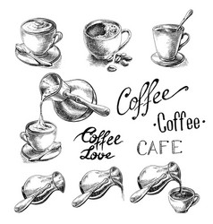 set of cup and coffee turk vector image
