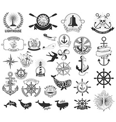 Set of the nautical labels emblems and design vector