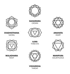 Seven chakras icons simple black graphic set vector