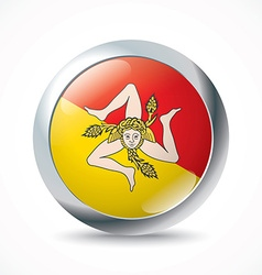 Sicily flag button vector image vector image