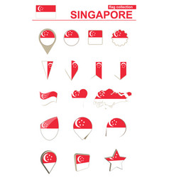 Singapore flag collection big set for design vector