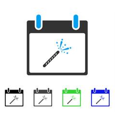 Sparkler firecracker calendar day flat icon vector