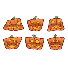 Square jack o lantern icons vector