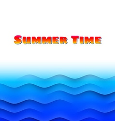 Summer themed card with sea waves vector image