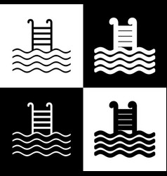 Swimming pool sign black and white icons vector