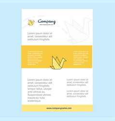 template layout for bird comany profile annual vector image