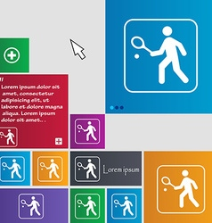 Tennis player icon sign buttons Modern interface vector image