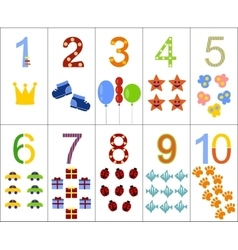 The numbers from one to ten vector