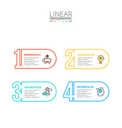 thin line flat numbers infographic template vector image