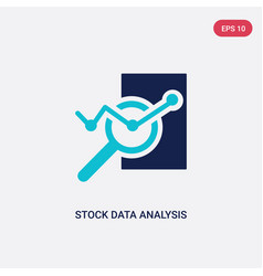 two color stock data analysis icon from business vector image