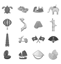 Vietnam travel icons set monochrome vector
