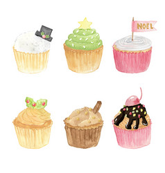 watercolor christmas cupcakes collection isolated vector image