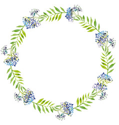 watercolor wreath green leaves and vector image