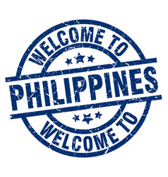 welcome to philippines blue stamp vector image