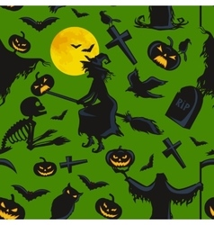 Witch on a broomstick under full moon with vector
