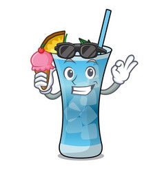 with ice cream blue hawaii character cartoon vector image