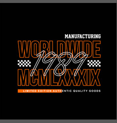 Worldwide manifacturing 1989 vintage vector