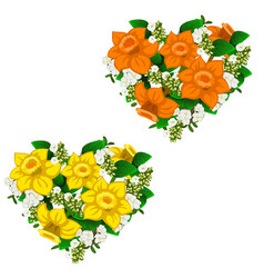 yellow and orange bouquet of flowers heart shape vector image