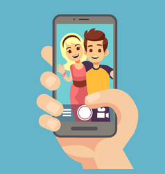 Young couple woman man taking selfie photo on vector