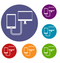 Connection phone icons set vector