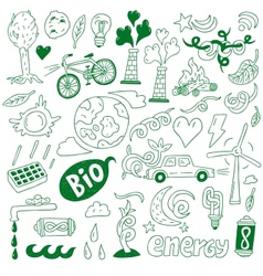 Ecology - doodles collection vector image