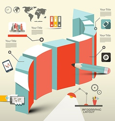 Retro Flat Design Infographic Layout with 3d Arrow vector image vector image