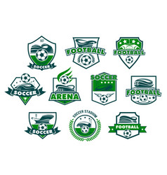 soccer club badge with football stadium and ball vector image vector image
