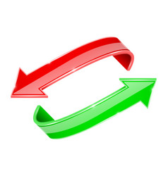 arrows set red and green curve signs vector image vector image