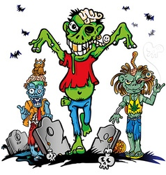 fun zombie cartoon set on white background vector image