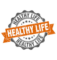 healthy life stamp sign seal vector image vector image