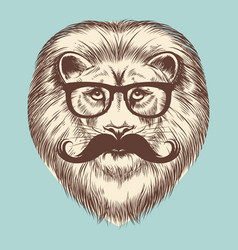 hipster lion with eyeglasses and mustache vector image