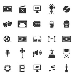 movie icons on white background vector image vector image