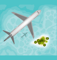plane over tropical paradise island vector image
