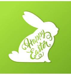 Rabbit and greeting inscription vector image vector image
