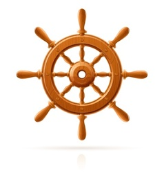 ship wheel marine wooden vector image