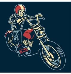 skull ride a big motorcycle vector image