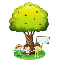 Three kids under the tree with an empty signboard vector image vector image