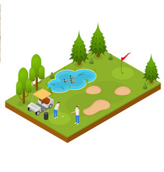 golf composition concept 3d isometric view vector image vector image