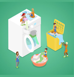 isometric people washing clothes laundry service vector image vector image