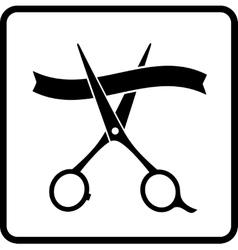 Scissors and ribbon vector