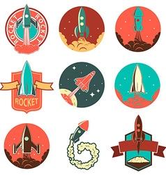 Set of the rocket labels vector image vector image