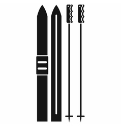 Skis with sticks icon black simple style vector image