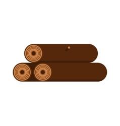 Stack of nine wooden logs firewood lumber tree cut vector image