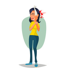 woman with toothache sad unhappy girl vector image