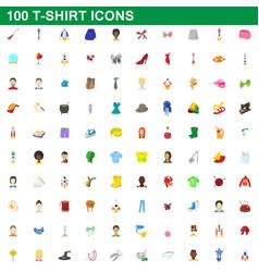 100 t-shirt icons set cartoon style vector image vector image